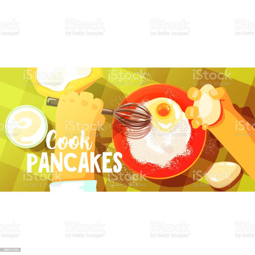 Pancakes Cooking Bright Color Illustration vector art illustration