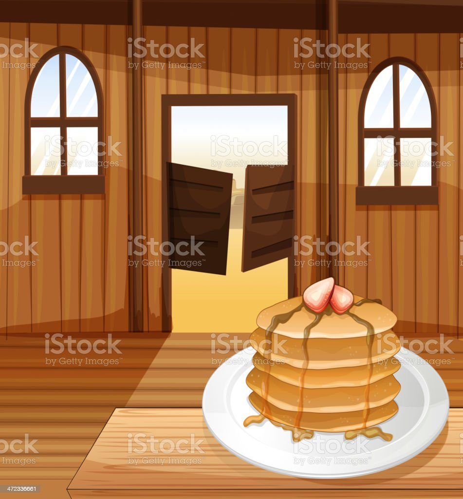 Pancakes in a plate royalty-free stock vector art