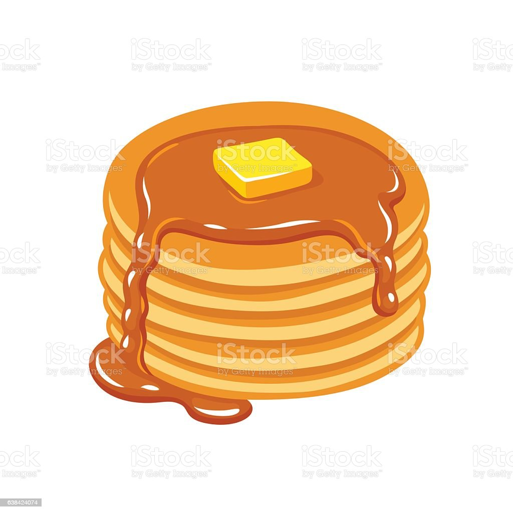 Pancakes with butter and syrup vector art illustration
