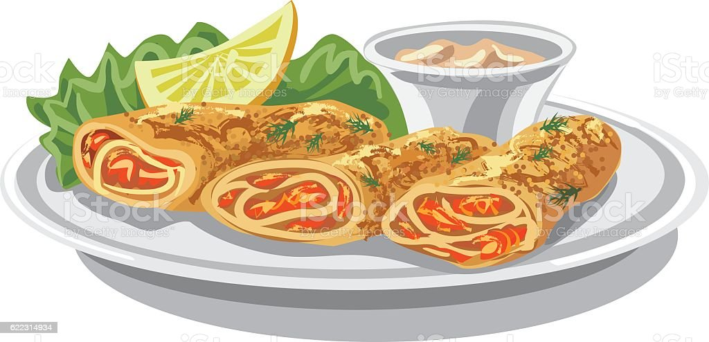 pancakes with salmon vector art illustration