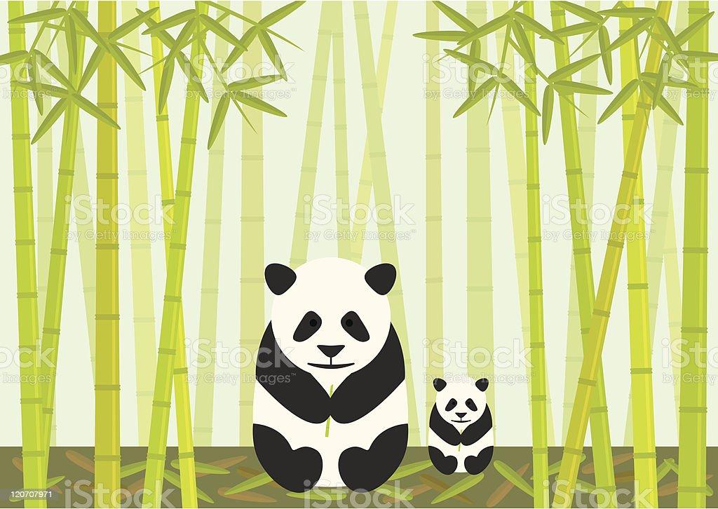 Panda And Cub Eating Bamboo royalty-free stock vector art