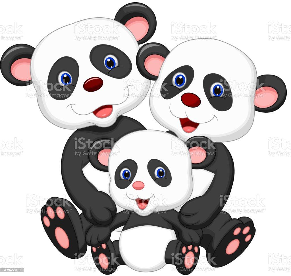 Panda bear family cartoon royalty-free stock vector art