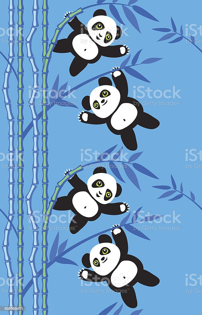 panda bear on bamboo branches (seamless pattern) vector art illustration