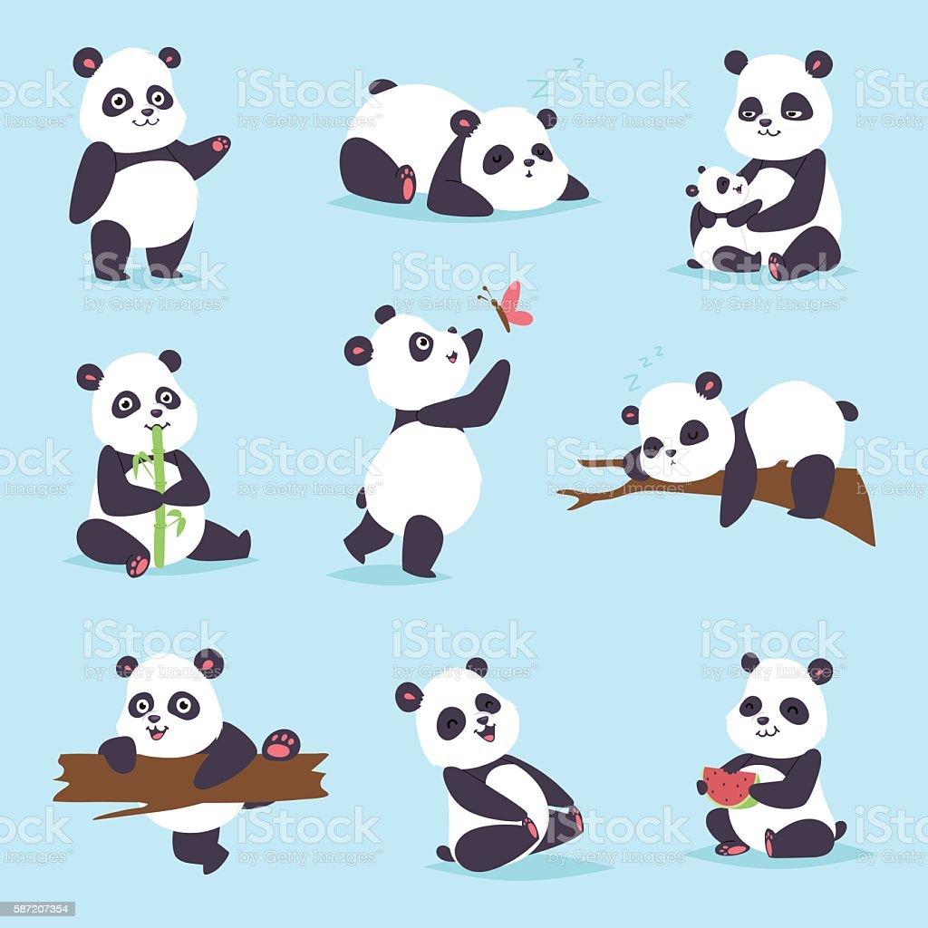 Panda bear vector set. vector art illustration