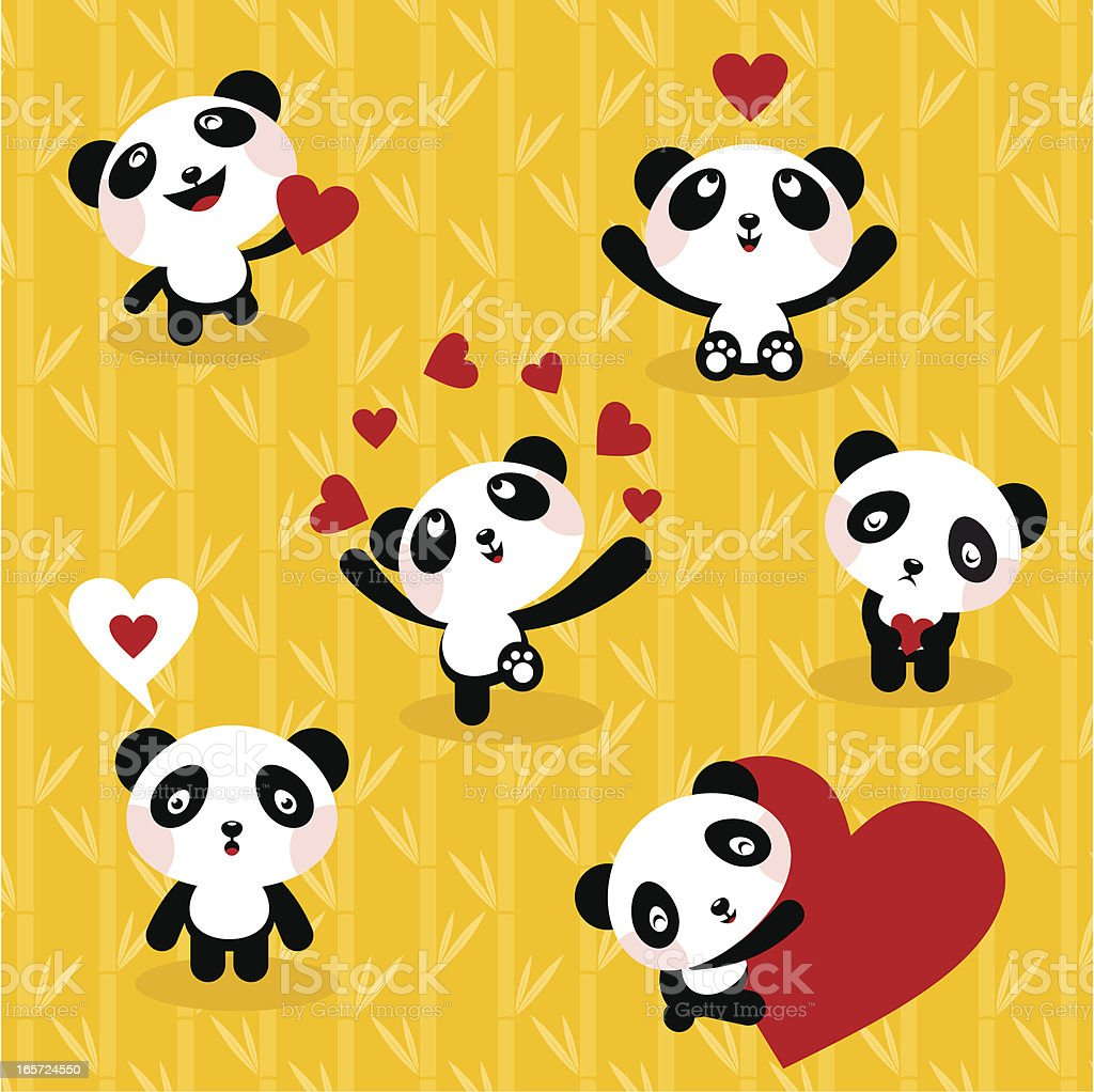 Panda bears ,set, icon, love, cute vector art illustration