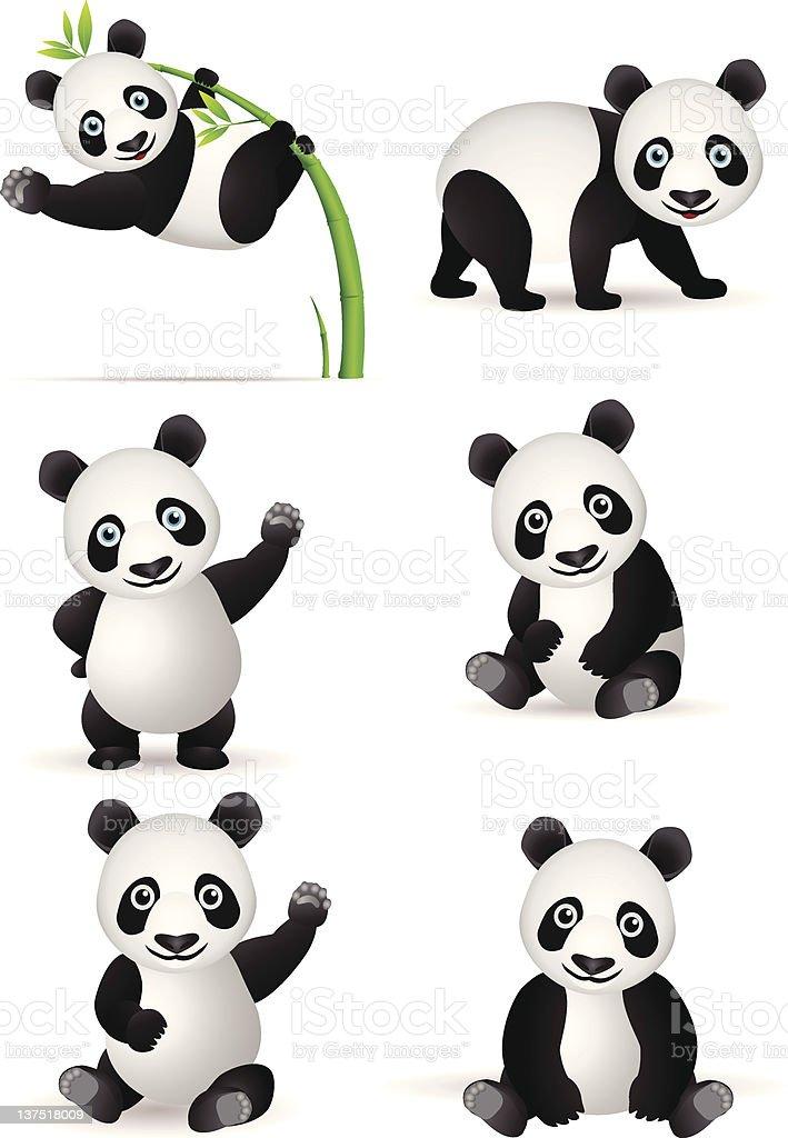 Panda cartoon collection vector art illustration