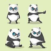 Panda Cute Character Collection Set Vector