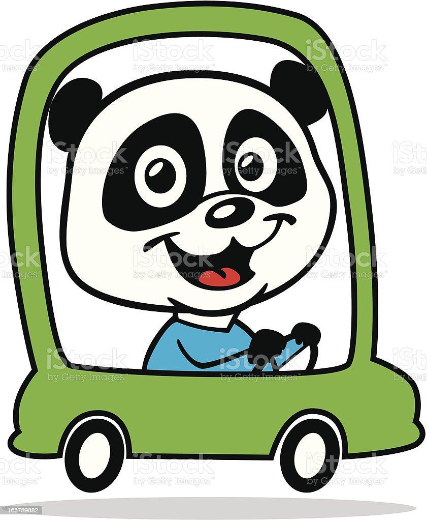 Panda Driving Car vector art illustration