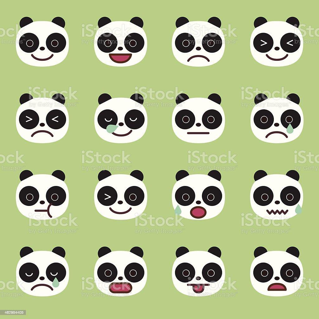 Panda Emoticons vector art illustration