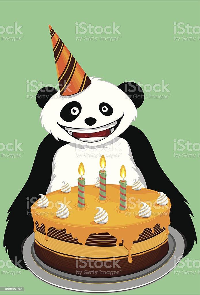 Panda Greets You a Happy Birthday vector art illustration