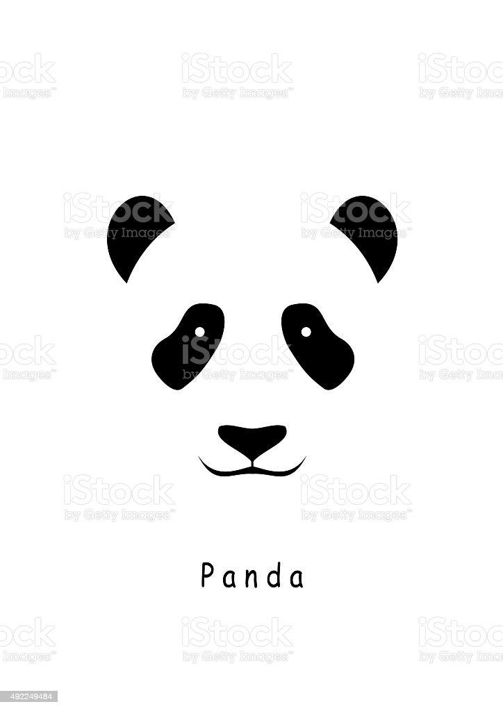 Panda Head icon vector on a white background. vector art illustration