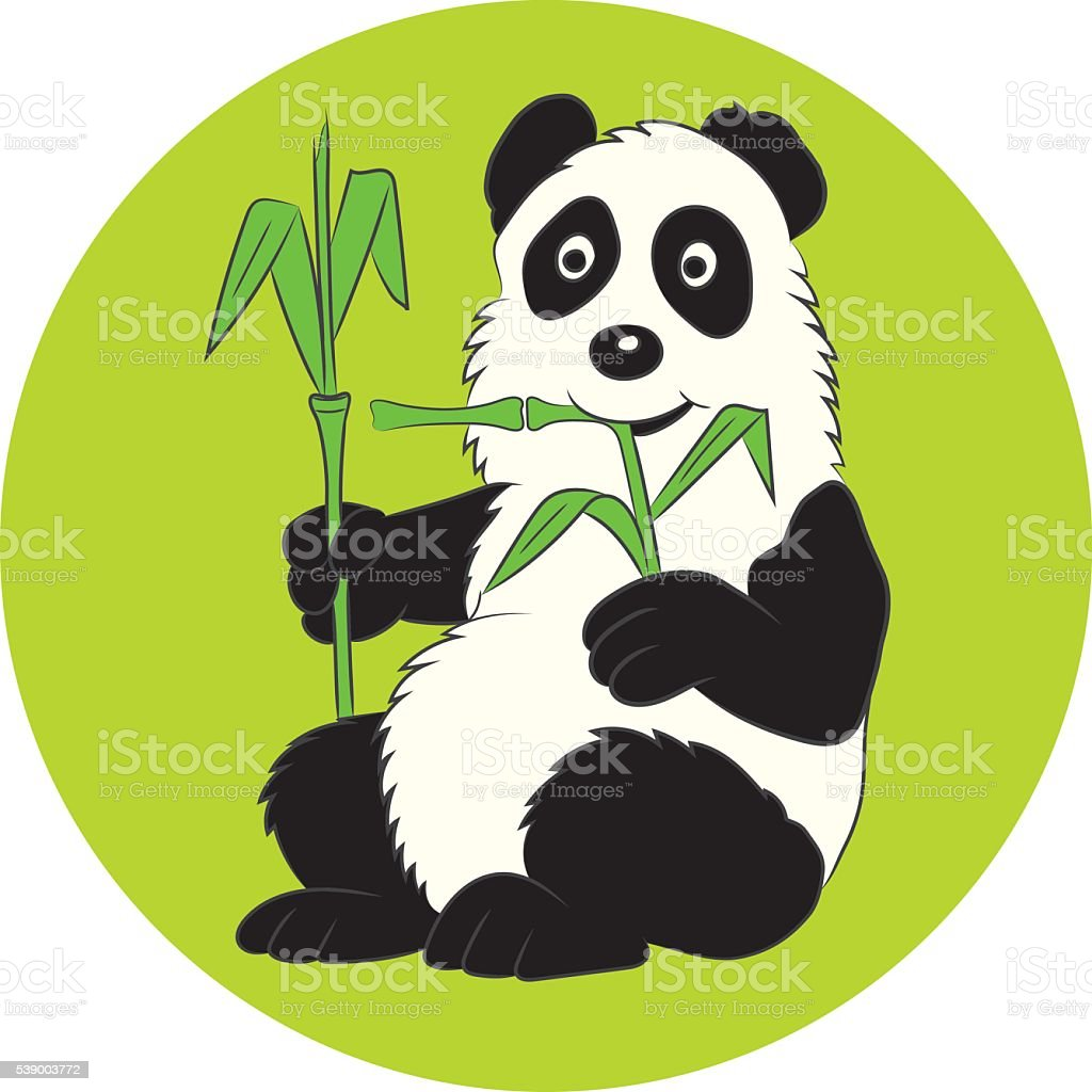 Panda illustration with a bamboo branch. vector art illustration