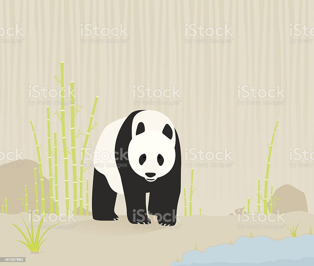 Panda in nature vector art illustration