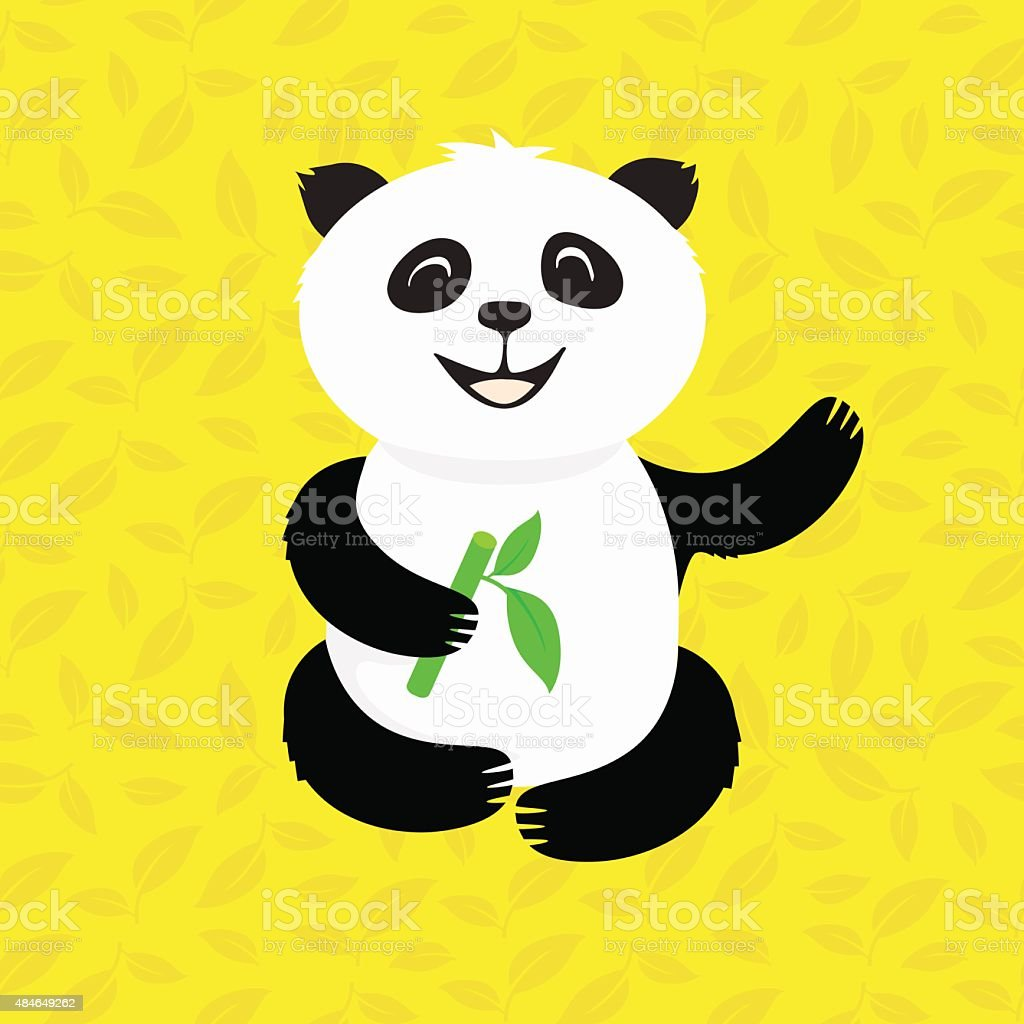 Panda in the bamboo vector art illustration
