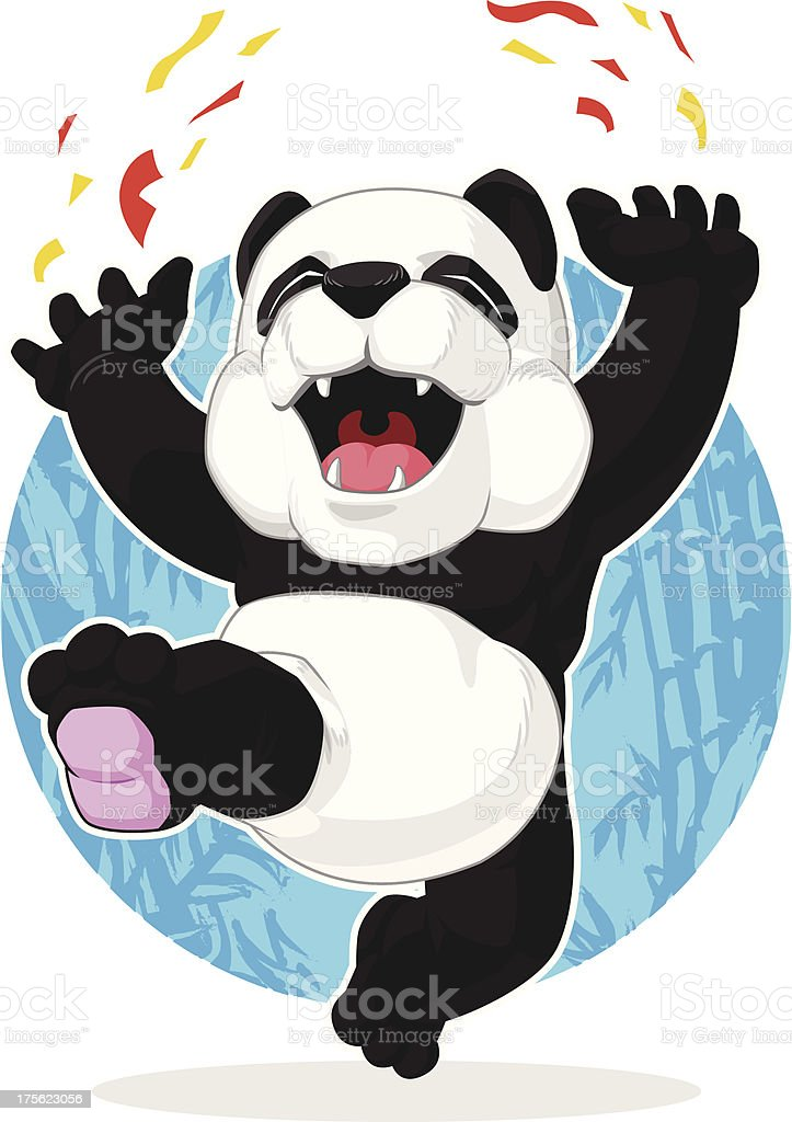 Panda Jumping in Excitement royalty-free stock vector art