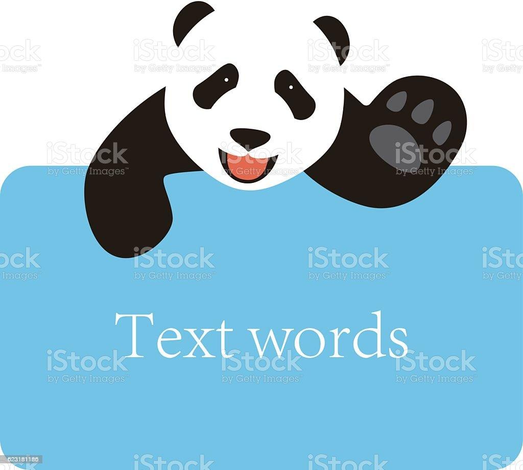 panda lie on the billboard, blackboard, say hello vector art illustration