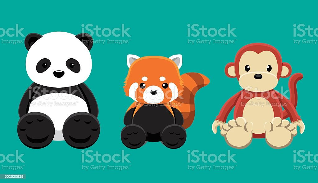Panda Red Panda Monkey Doll Set Cartoon Vector Illustration vector art illustration