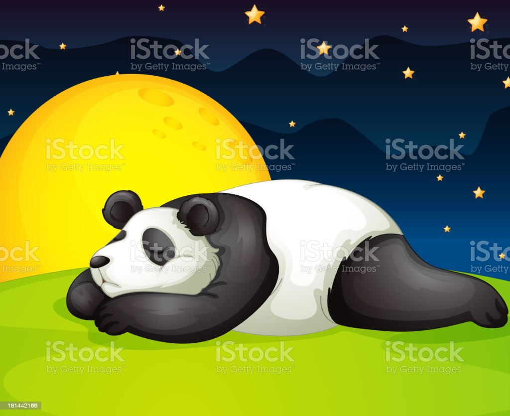 panda resting in night royalty-free stock vector art