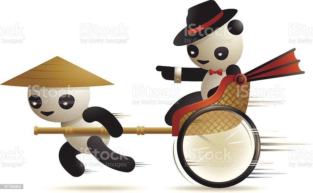 Panda Rickshaw royalty-free stock vector art
