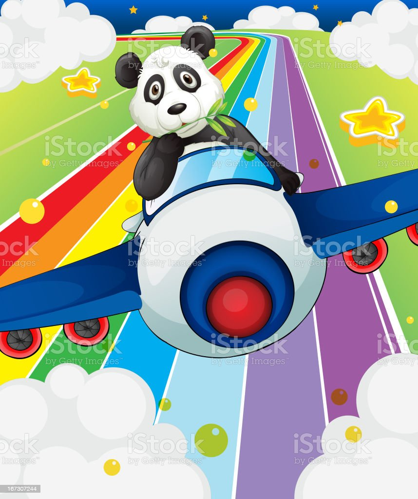 Panda riding in a plane royalty-free stock vector art