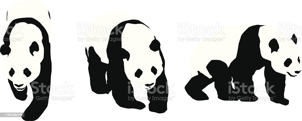 Panda Silhouettes vector art illustration