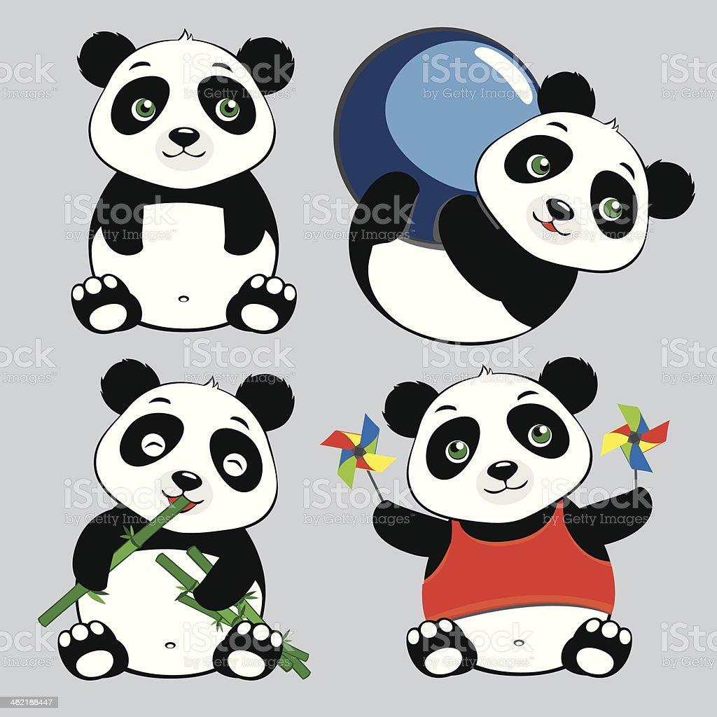 Panda Sit Eat Play Ball Cute Cartoon Set royalty-free stock vector art