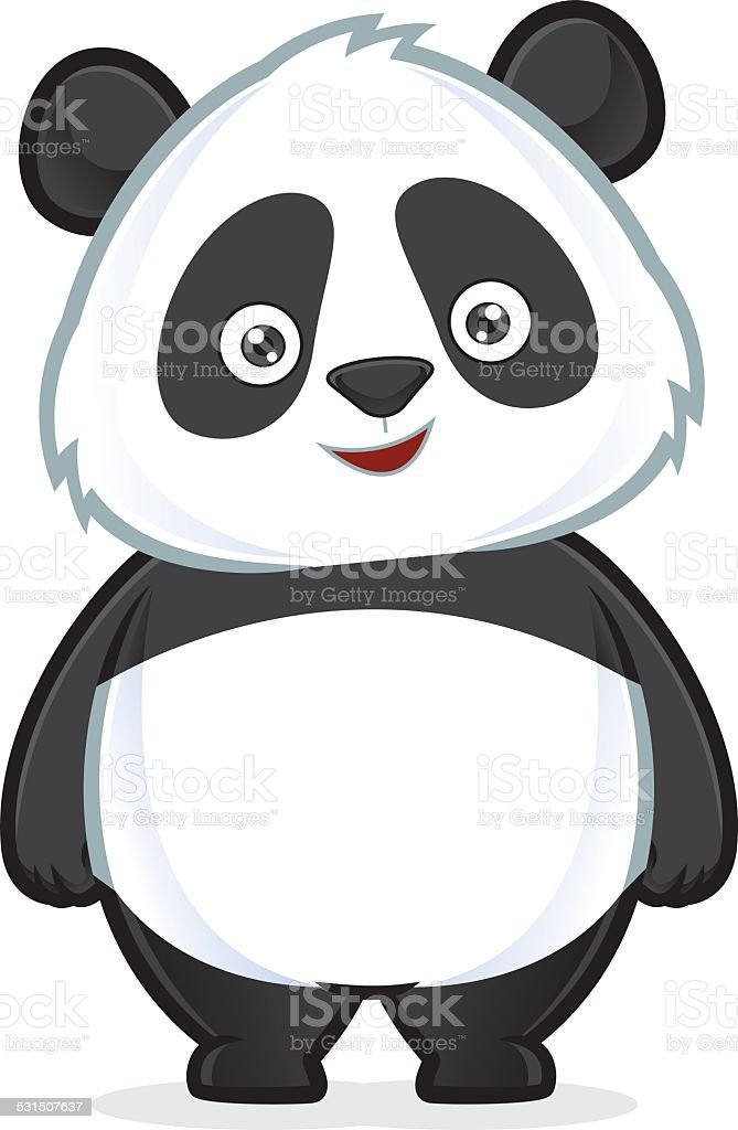 Panda standing vector art illustration