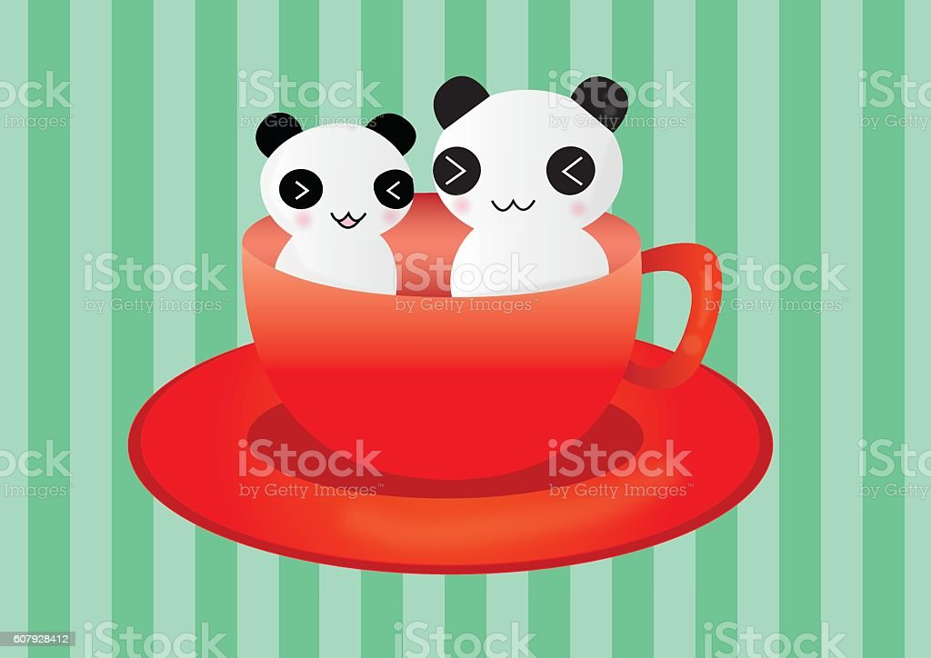 Panda Teacup vector art illustration
