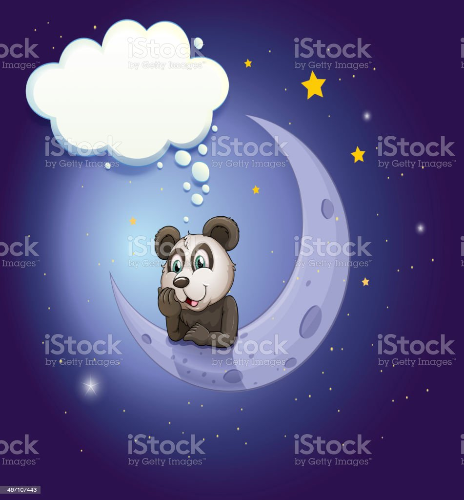 Panda thinking at the crescent moon with an empty callout royalty-free stock vector art