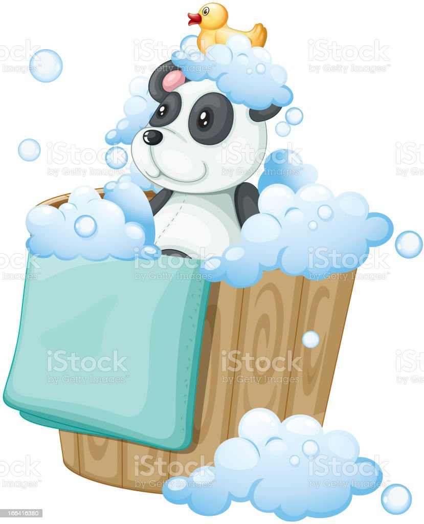 Panda toy and rubber duck inside a pail royalty-free stock vector art