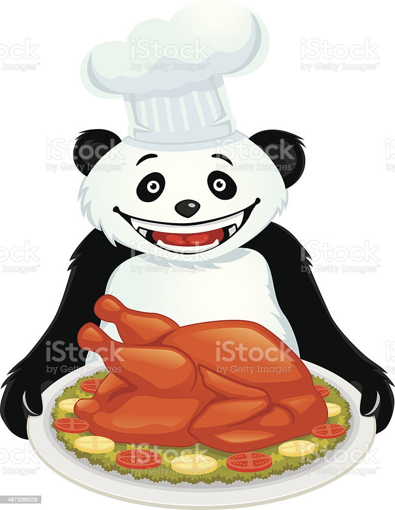 Panda With Roasted Turkey royalty-free stock vector art