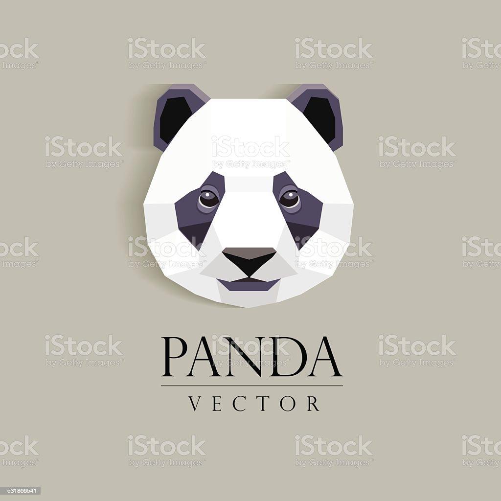 panda`s head low poly geometric polygonal flat design element vector art illustration