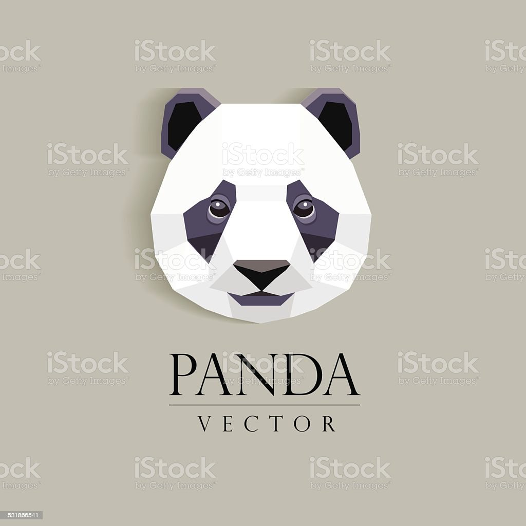 panda`s head low poly geometric polygonal flat design element vector art illustration
