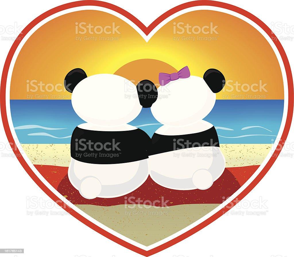 Pandas in Love vector vector art illustration