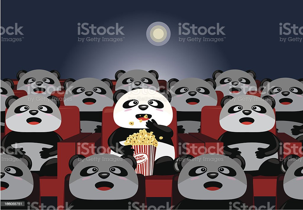 pandas watching movies royalty-free stock vector art