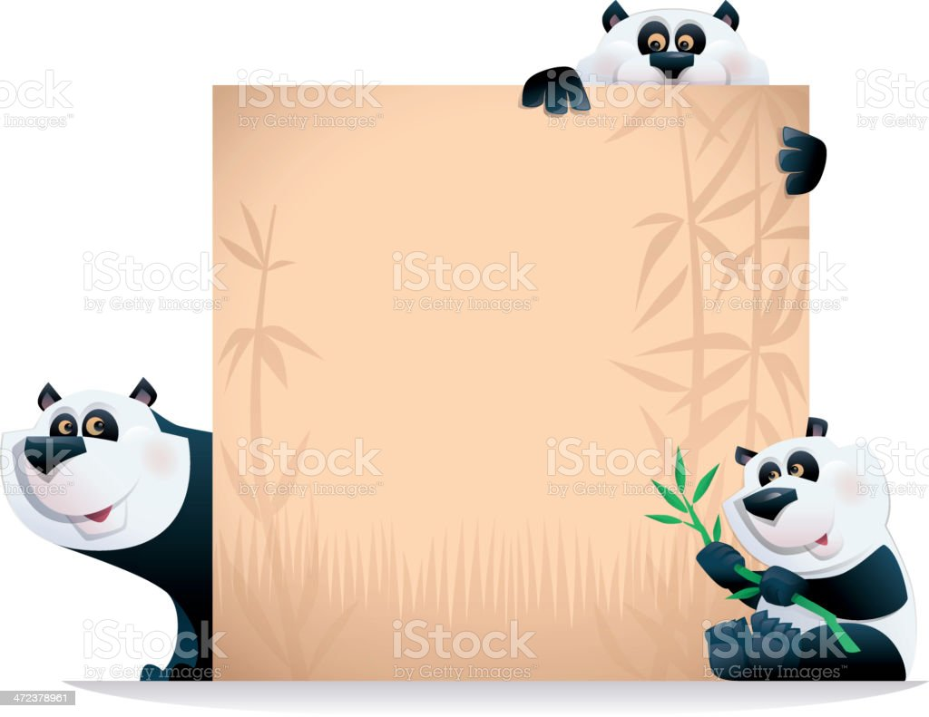 pandas with blanked sign royalty-free stock vector art