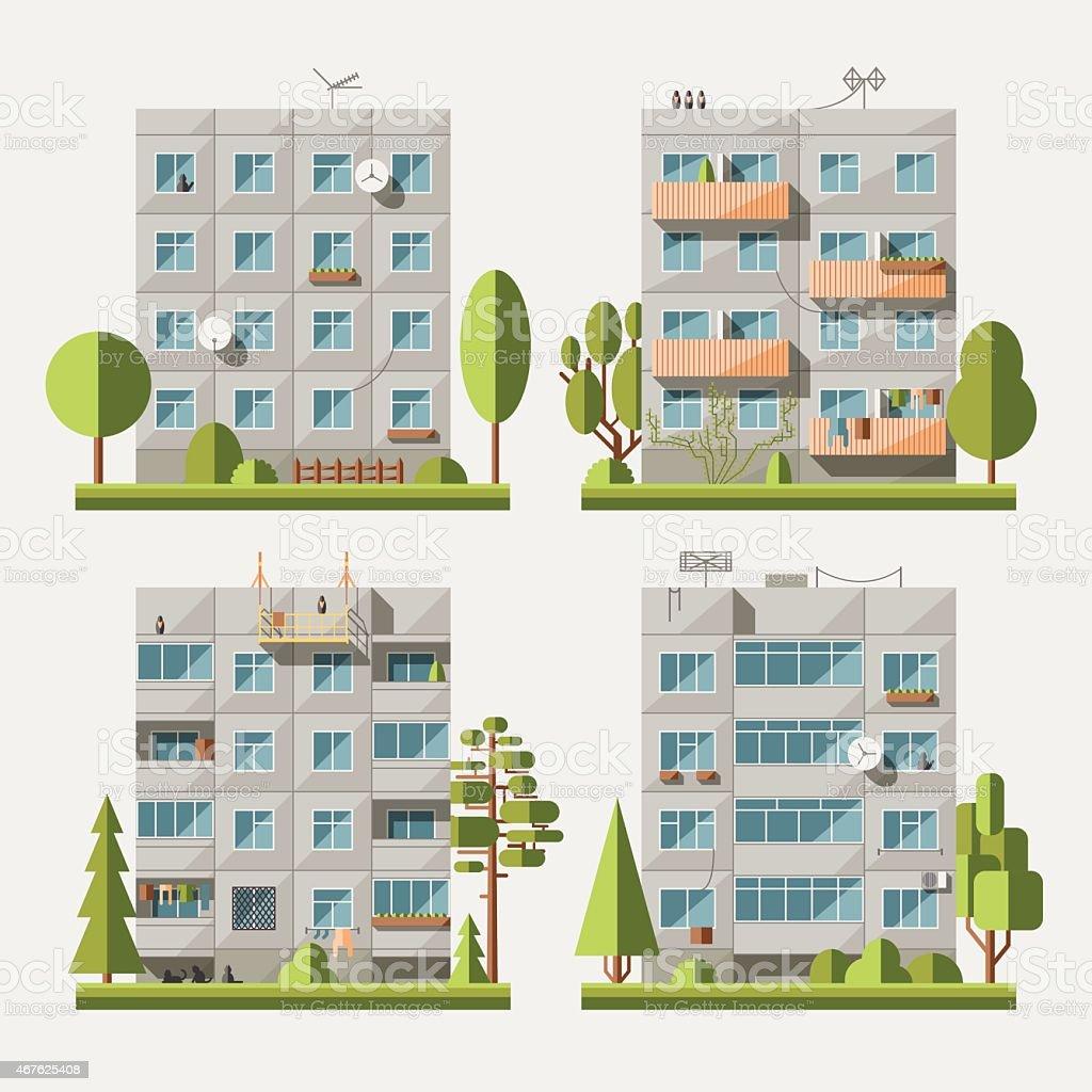 Panel houses flat set1 vector art illustration