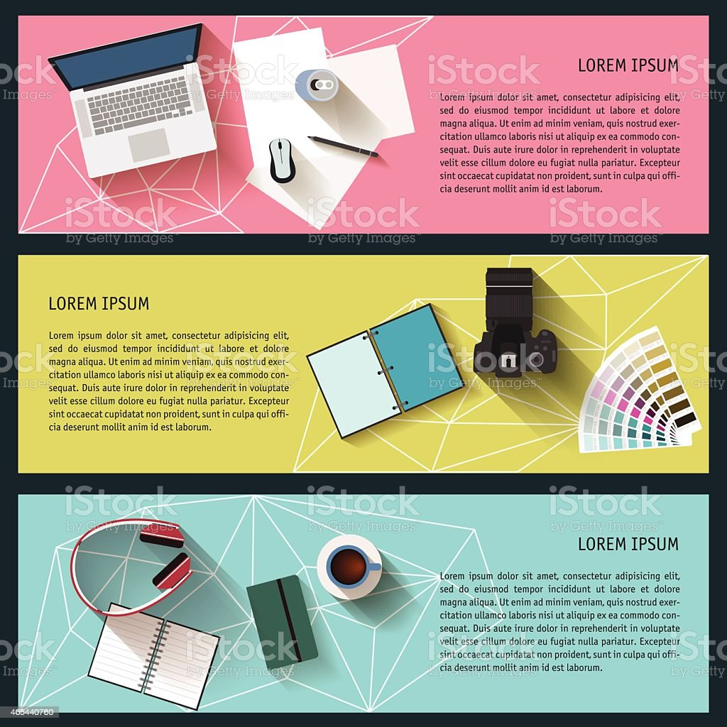 Panel of lifestyle items like a laptop and camera vector art illustration