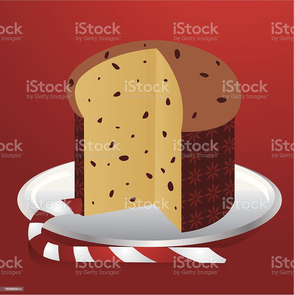Panettone and Candy cane vector art illustration