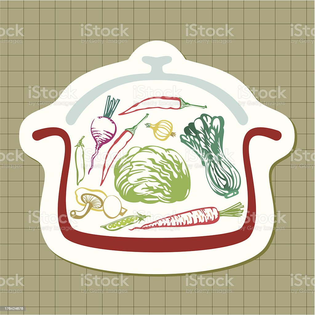 Panful of vegetables vector art illustration