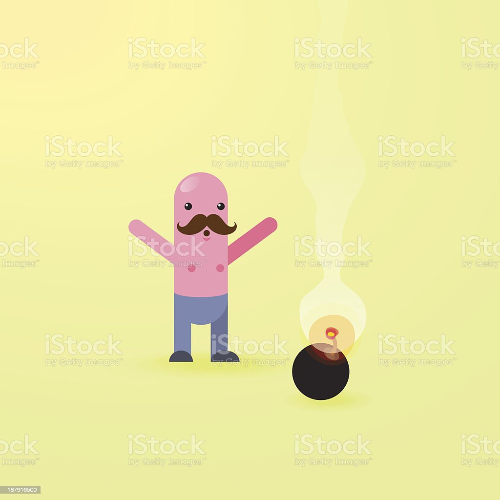 Panic Danger Bomb Character royalty-free stock vector art