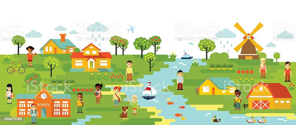 Panorama landscape with people vector art illustration
