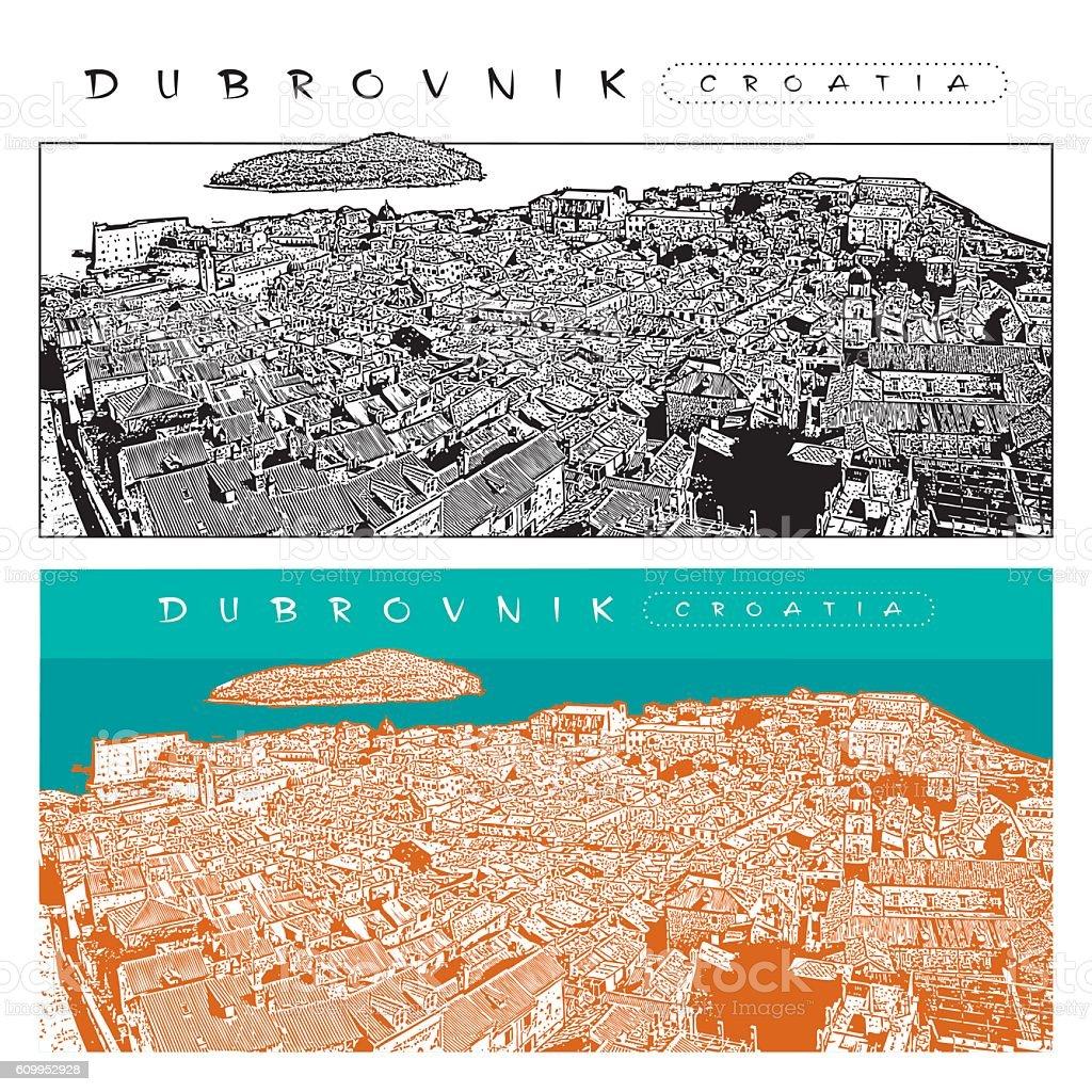 Panorama of Dubrovnik, Croatia. Vector illustration of old town. vector art illustration