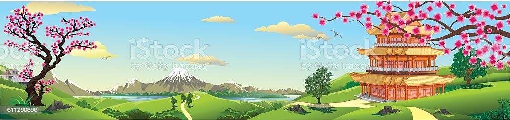Panorama of nature, Asia Palace vector art illustration