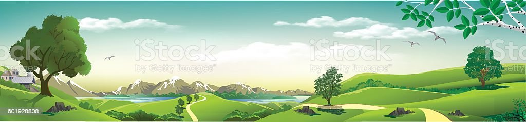 Panorama of nature - mountains, rivers, hills with trees. vector art illustration
