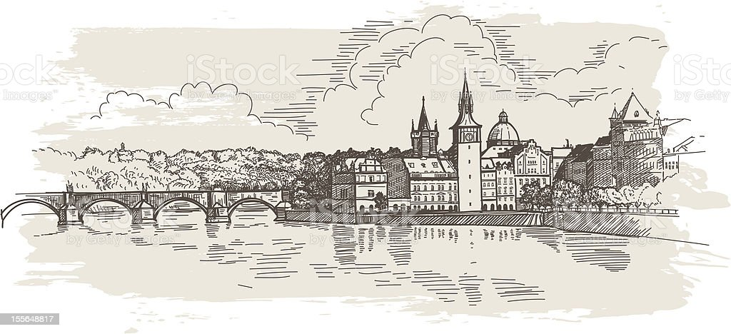 Panorama of Prague royalty-free stock vector art