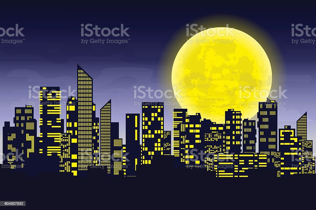 Panorama of the big city at night. Silhouettes of skyscrapers vector art illustration