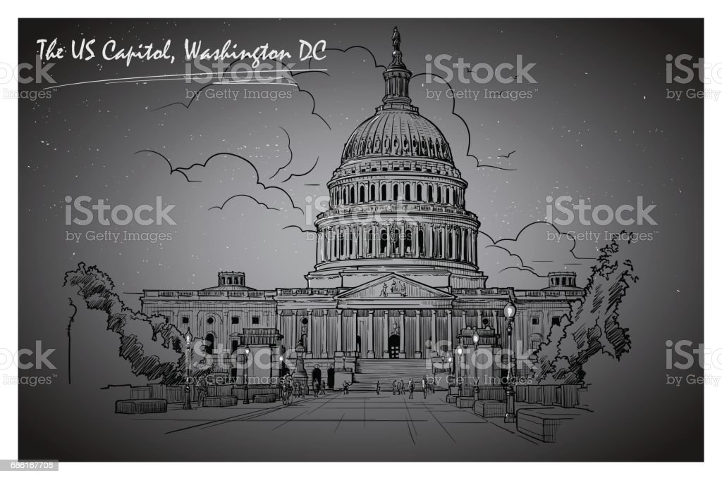 Panorama of the US Capitol at night. EPS10 vector illustration. vector art illustration