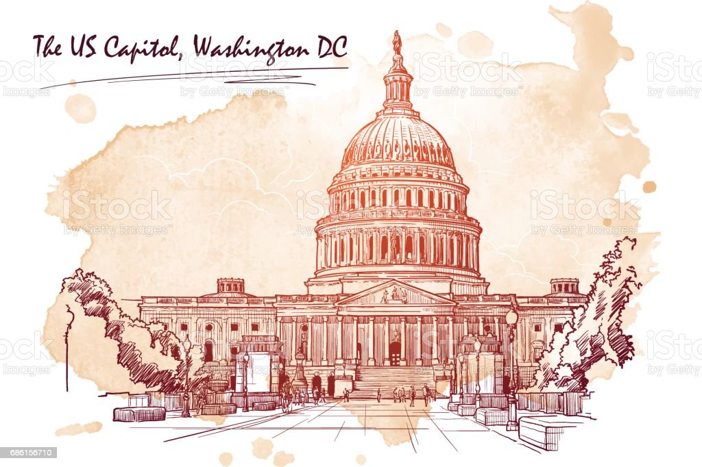 Panorama of the US Capitol. Sketch isolated on white background. EPS10 vector illustration. vector art illustration