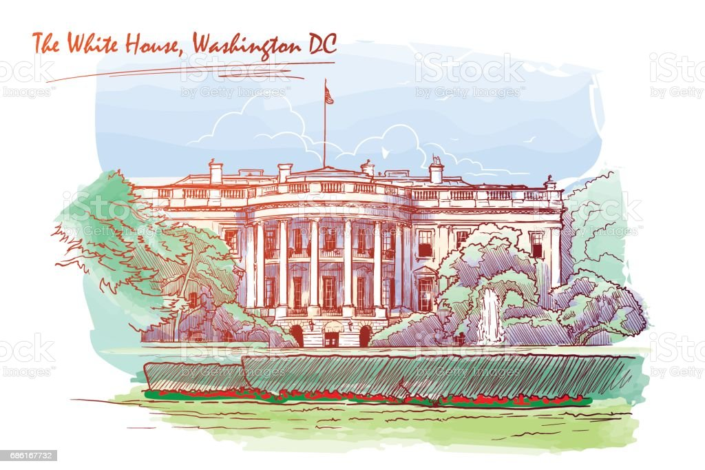 Panorama of the White House. Blackboard. EPS10 vector illustration. vector art illustration